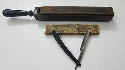 Antique Shumate Straight Razor and Leather Hone Sharpener
