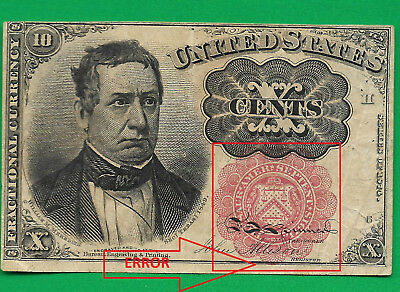 Fr 1265 ERROR FIFTH Issue 10 Cent Fractional  RED SEAL below BORDER LONG KEY