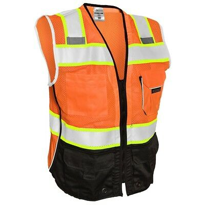 ML Kishigo Class 2 Black Bottom Reflective Safety Vest, Orange
