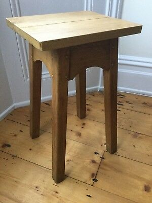 Antique Vintage Wooden Stool Arts and Crafts Hand Made Oak Pegged Joints Look