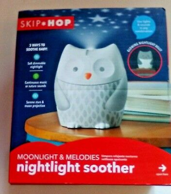 Skip Hop Moonlight & Melodies Nightlight Soother Owl Music Nature Sounds Stars