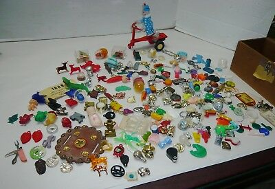 Mixed Lot Vintage Cracker Jack & Gumball Machine Charms & Clown Riding Scooter