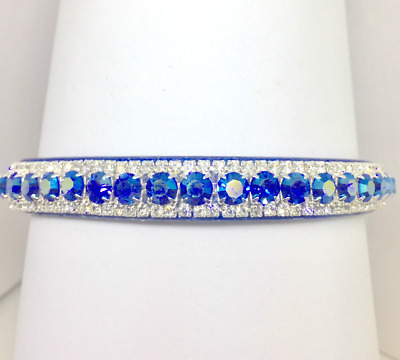 Jewish Blue AB Rhinestone Dog Cat Pet Collar + Hanukkah Charm USA