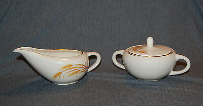 Vintage Mid Century Homer Laughlin Golden Wheat Cream & Sugar. Great Condition!