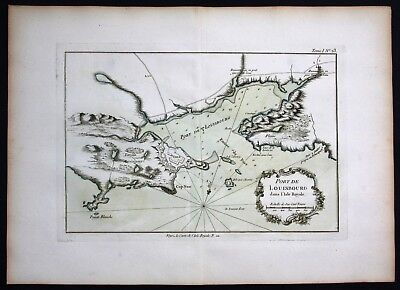 1764 - Louisbourg Nova Scotia Canada plan Bellin handcolored antique map