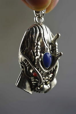Collectable Handwork Miao Silver Carve Ancient Exorcism Dragon Special Pendant