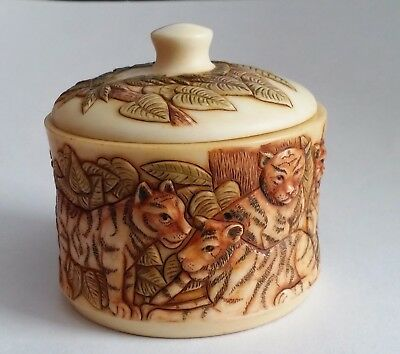"Harmony Kingdom Jardinia Tigers ""On the prowl"" Trinket Box"