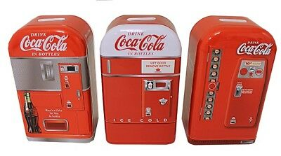 Coca Cola Coke Metal 3 Pc  Retro Vending Machine Tin Bank Set   New!