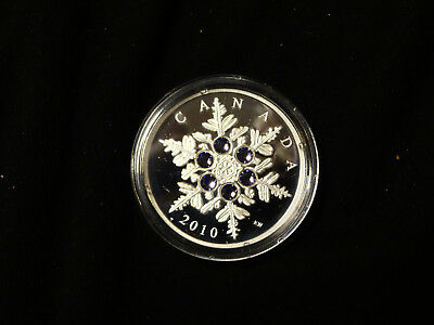2010 Canada 20 Dollars Silver Coin Crystal Snowflake (Tansanite) limitiert, Toll
