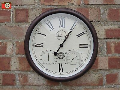 A Garden Wall Clock Thermometer Humidity, Indoor Or Outdoor, Vintage Look