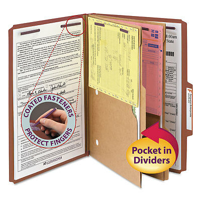 Smead Pressboard Folders with Two Pocket Dividers Legal Six-Section Red 10/Box