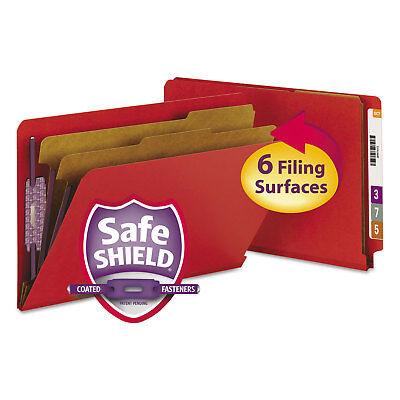 Smead Pressboard End Tab Folders Legal Six-Section Bright Red 10/Box 29783