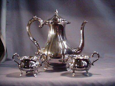 Vintage David Andersen 830 Silver 3 Pc Footed Teapot Sugar and Creamer