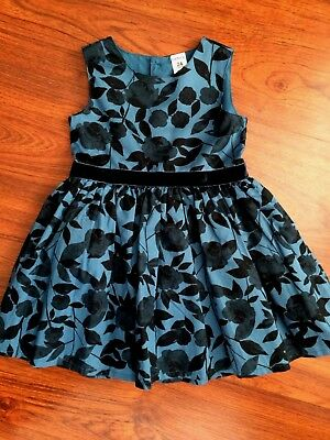 NWOT 24 24m Carter's Christmas Dress Blue Floral Leaves NEW baby girls Holiday