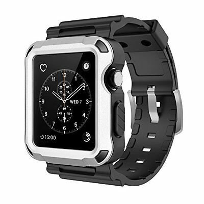 Full Protective Rugged Case w/ Black Bands for Apple Watch 42mm Series 3 Silver