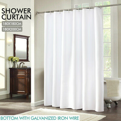 Polyester Waterproof Bathroom Shower Curtain Panel Decor With 12 Hook White