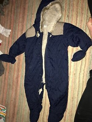Next Baby Boy Navy Quilted snow Winter All In One Snow Suit 3-6 Months