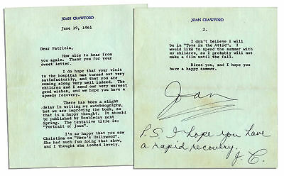 Joan Crawford Letter Signed With Autograph Postscript