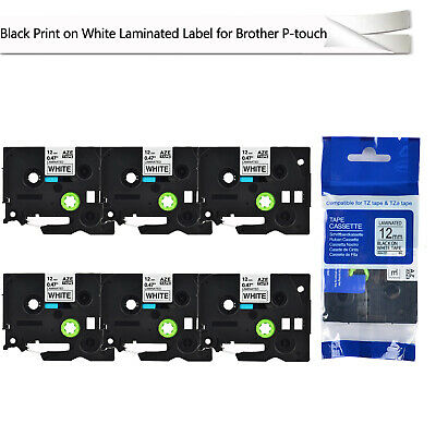 6PK 12mm Label tape Fit for Brother P-TOUCH TZ-231 TZe-231 Black on White 26.2ft
