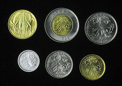 Lot of 6 Ethiopia 1, 5, 10, 25, 50 Cents, 1 Birr BU Set of Mint State Coins