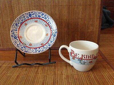 Be Kind To Thy Sister Cup & Saucer By Mary Engelbreit  VG Condition