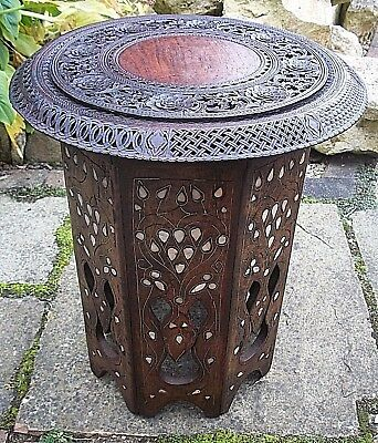 Octagonal Antique Anglo Indian  Inlaid Wooden Side Table-Beautiful Top