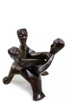 African Carved Wood Three-head Unity Statue