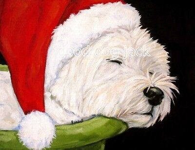 "West Highland Terrier ACEO WESTIE PRINT Painting ""Santa's Hat"" Dog Art RANDALL"