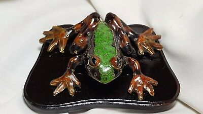 Chinese Cloisonne Frog Statue figure on lacquer stand