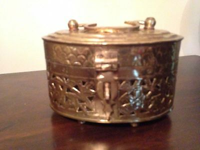 Collectible Unique Vintage Solid Brass Treasure Chest Jewelry Trinket Box {#2}