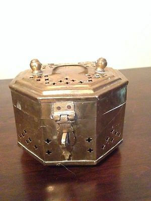 Collectible Unique Vintage Solid Brass Treasure Chest Jewelry Trinket Box {#4}