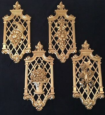 DART INDUSTRIES GOLD WALL HANGING PLAQUES DECORATIONS (LOT OF 4) compare syroco