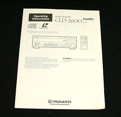 PIONEER CLD-2600 Laser Disc Operating Instructions User Manual