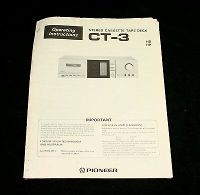 PIONEER CT-3 Stereo Cassette Deck Operating Instructions User Manual