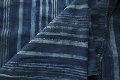 """Vintage African Dogon Indigo Dyed Fabric of Hand Woven Cotton 39x58"""""""