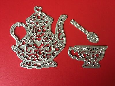 NEW• TEAPOT CUP & SPOON DIE SET For Cuttlebug Or Sizzix