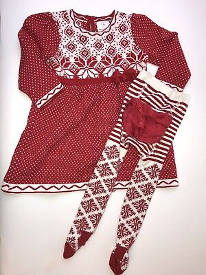 Girls Hanna Andersson 70 Red Sweater Dress Nordic Fair Isle Christmas 6-12 M