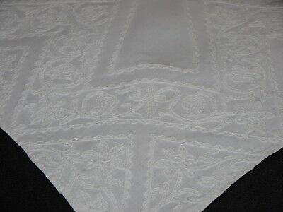 Antique Linen Tablecloth Couched Embroidered White Work Homespun Linen Folk Art