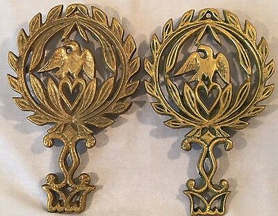 Vtg Set of Two Solid Brass Eagle Oak Leaf Footed Trivet, Hot Plate, Wall Hanging