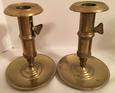 Solid Brass Adjustable Pair Of Chambersticks Candle Holders Beautiful Patina
