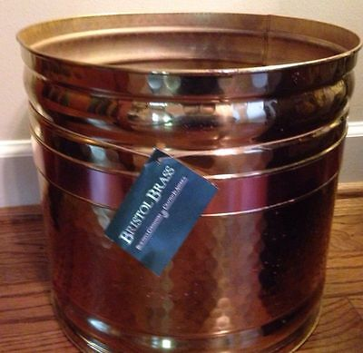 Vintage Brass & Copper Bin Planter Pot Hand Hammered; Made In Bristol Tenn.
