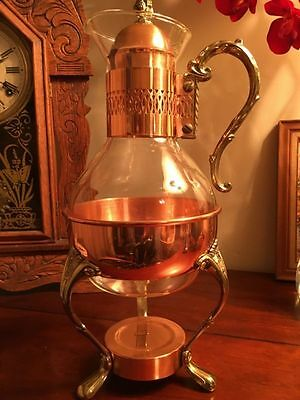 Vintage Copper & Glass Coffee Warmer Server Carafe, Lid Brass & Copper Stand