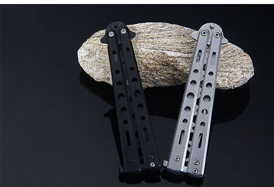 Steel Practice Butterfly Folding Knife Blade Trainer Training Dull Tool EC