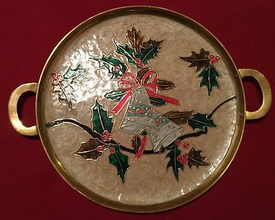 Vintage Hand Painted Ornate Brass Christmas Serving Tray With Handles India