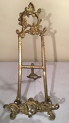 "Vintage Solid Brass Ornate Victorian Display Easel Heavy L 15 1/2"" Stand Holder"