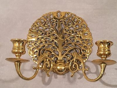 Vintage Solid Brass Ornate Twin Branch Wall Candle Sconce Rare Hollywood Regency