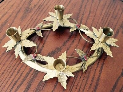 Solid Brass Holly 4 Leaf Oval Ring Candle Holder Christmas Fall Holidays