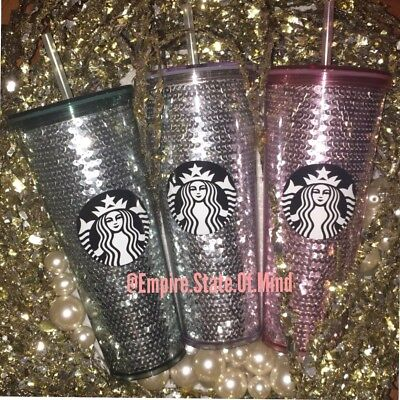 NEW Starbucks 2017 PINK + SILVER + GREEN Cold Cup Tumblers LOT of 3 Sequin Cups