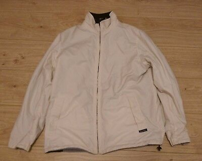 Nautica Men's Medium* Reversible White/Cream Grey/Navy Blue Zip-Up Jacket Coat