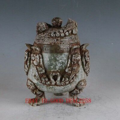 100% Natural Old Jade Handmade Carved  Animal Pot  DY384